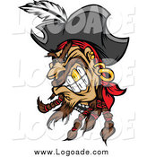 Clipart of a Tough Snarling Pirate Head with a Gold Tooth Logo by Chromaco