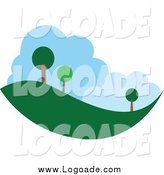 March 6th, 2014: Clipart of a Tree and Hill Landscape Logo by Vector Tradition SM