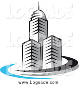 Clipart of a Trio of Skyscrapers and Swoosh Logo by Vector Tradition SM