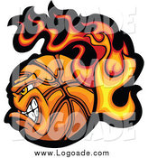 Clipart of a Vicious Flaming Basketball Logo by Chromaco