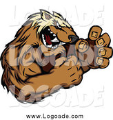 Clipart of a Vicious Wolverine Mascot Fighting Logo by Chromaco