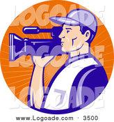 August 17th, 2015: Clipart of a White Camera Man in Blue Uniform, Filming in an Orange Sun Ray Circle Logo by Patrimonio