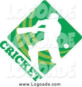 Clipart of a White Cricket Player over a Green Diamond with Text Sports Logo by Patrimonio