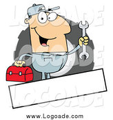 Clipart of a White Male Mechanic Logo with a Blank Text Box by Hit Toon