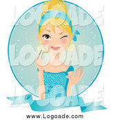 Clipart of a Winking Blond Woman in a Blue Dress, Applying Blush over a Circle and Blank Banner by Melisende Vector