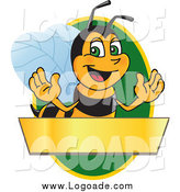 Clipart of a Worker Bee Mascot over a Blank Banner on a Green Oval Logo by Toons4Biz