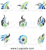 Clipart of Abstract Blue, Green and Gray Logos by Cidepix