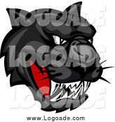 Clipart of an Aggressive Black Panther Head Logo by Vector Tradition SM
