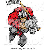 Clipart of an Aggressive Ice Hockey Player Skating Logo by Chromaco