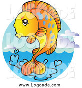 Clipart of an Orange Fish and Water Logo by Visekart