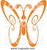 February 12nd, 2014: Clipart of an Orange Swirl Butterfly Logo by Vector Tradition SM