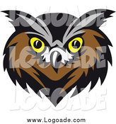 Clipart of an Owl with Yellow Eyes Logo by Vector Tradition SM