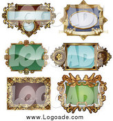 Clipart of Antique and Retro Frame Logos by AtStockIllustration