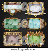 March 19th, 2014: Clipart of Antique Ornate Frames on Black Logos by AtStockIllustration
