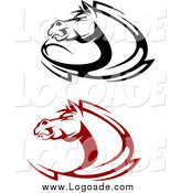 Clipart of Black and Red Aggressive Horse Logos by Vector Tradition SM