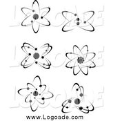 Clipart of Black and White Atoms and Molecules by Vector Tradition SM