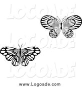 Clipart of Black and White Butterfly Logos by Vector Tradition SM
