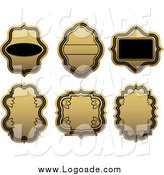 Clipart of Blank Gold and Black Label Logos by Vector Tradition SM