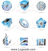 Clipart of Blue and Black Logos by Cidepix