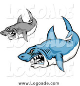 Clipart of Blue and Grayscale Aggressive Shark Logos by Vector Tradition SM