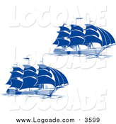 Clipart of Blue Sailing Ships Logos by Vector Tradition SM