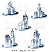 Clipart of Blue Skyscraper Building Design Logos by Vector Tradition SM