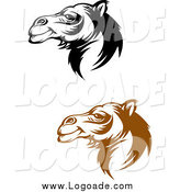 Clipart of Brown and Black Camel Face Logos by Vector Tradition SM