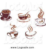 Clipart of Brown Coffee Cups Logos by Vector Tradition SM