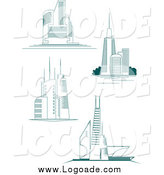 Clipart of City Skyscrapers Logos by Vector Tradition SM