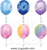 Clipart of Colorful Solid and Gradient Helium Party Balloon Logos by Dero