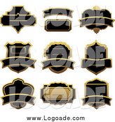 Clipart of Gold and Black Label Logos by Vector Tradition SM