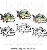 Clipart of Green and Black and White Piranha Fish in Rows by Vector Tradition SM