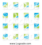Clipart of Green, Blue and White Square Ecology Logos by Elena