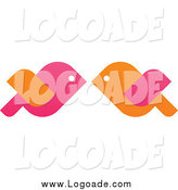 Clipart of Logo of Orange and Pink Love Birds Kissing by Elena