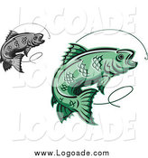 Clipart of Logos of Green and Gray Trout Fish Leaping at Hooks by Vector Tradition SM