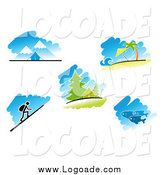 Clipart of Logos of Travel, Nature and Recreation Scenes by Vector Tradition SM