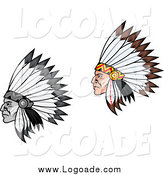Clipart of Native American Men in Feathered Headdress, in Profile Logos by Vector Tradition SM