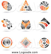 Clipart of Orange and Black Icon or Logos by Cidepix