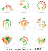 Clipart of Orange and Green Floating Logos by Cidepix