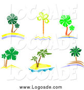 Clipart of Palm Trees and Islands Travel Logos by Vector Tradition SM