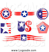Clipart of Patriotic American Logos by Vector Tradition SM