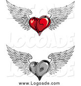 Clipart of Red and Grayscale Flying Winged Heart Logos by Vector Tradition SM