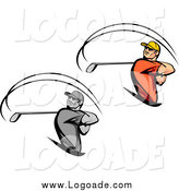 Clipart of Swinging Golfer Logos by Vector Tradition SM