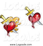 Clipart of Swords Stabbing Flaming Hearts Logos by Vector Tradition SM