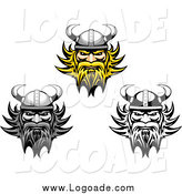 Clipart of Tough Viking Faces Logos by Vector Tradition SM
