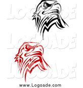Clipart of Tribal Eagle Logos by Vector Tradition SM