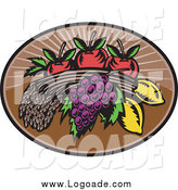 Clipart of Wheat, Grapes, Lemons and Apples Logo by Patrimonio