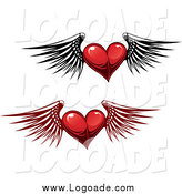 Clipart of Winged Red Heart Logos by Vector Tradition SM