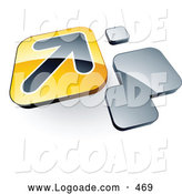 Logo of a 3d Arrow on a Yellow Box near Orange Squares by Beboy