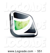 Logo of a 3d Black Square Button with a Green Wave by Beboy